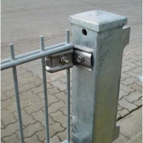 2 Stück Wandanschluss / Pfostenanschluss / Wandhalter f. Doppelstabmatten, Edelstahl