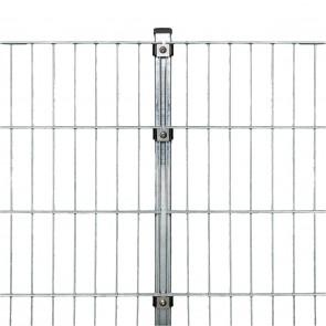 Stabmattenzaun Komplettset, schwere Ausführung 8/6/8, feuerverzinkt, 2,03 m hoch, 25 m lang