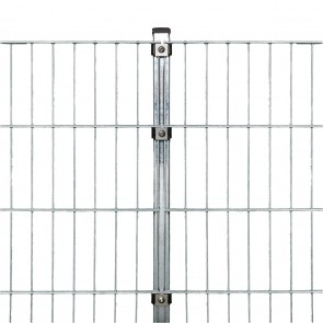 Stabmattenzaun Komplettset, schwere Ausführung 8/6/8, feuerverzinkt, 1,23 m hoch, 25 m lang